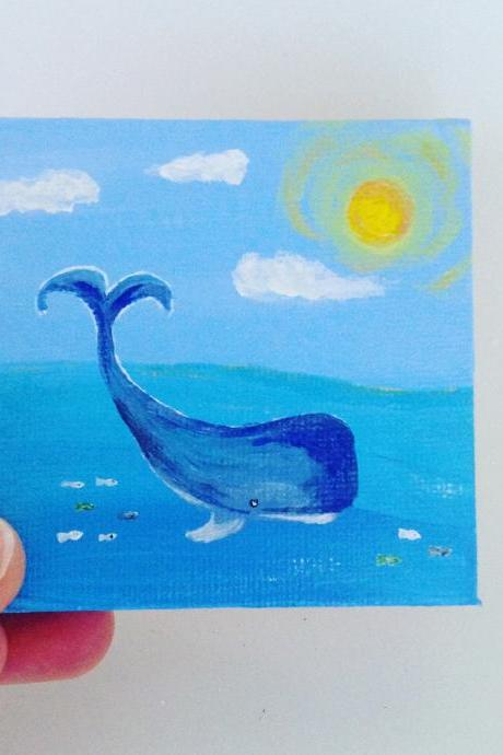 Mini canvas art/ blue whale tiny art/original art/small painting/small art work/small home decor/gift giving/tiny artwork/nature art/art/whale art/farmhouse