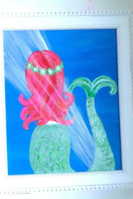 Mini canvas art, mermaid painting/ original painting on canvas / mermaid art / painting / small home decor / whimsical painting / fantasy / nursery art / small art