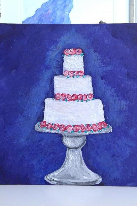 Canvas art small, wedding cake painting/ small art/original art/small painting/wedding gift/cake art/wedding/artwork/gift for bride/gift for her/artwork