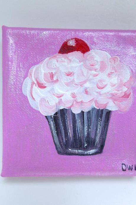 Small canvas painting, cherry cupcake art/original painting on canvas / small art / cupcake art / small canvas / small home decor / dessert art / miniature art / art