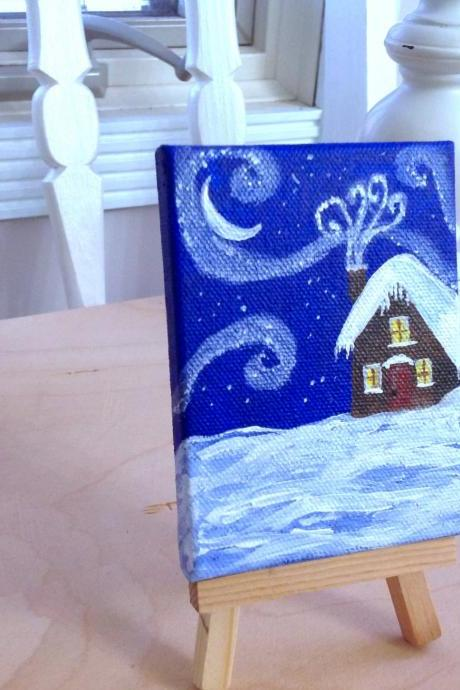 Mini canvas painting, snowy night farmhouse art/tiny painting/small painting/tiny art/ miniature art/chalet/ home decor/collectable art/original artwork