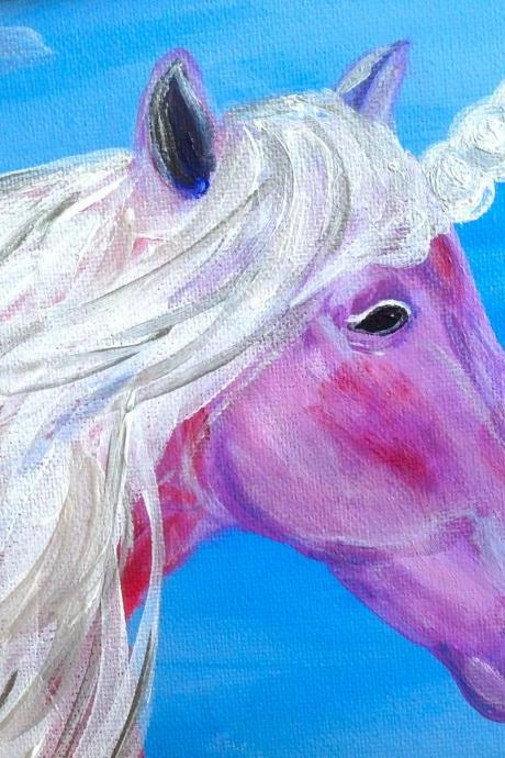 Original mini canvas art, unicorn art/ original art on canvas/ small artwork/ fantasy painting/ small home decor/ whimsical art/ unicorn painting/ art/ painting/ whimsy