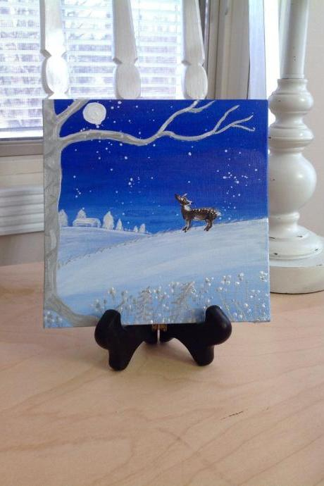 Mini canvas painting, winter snowy night painting/ small painting/original painting/small art/deer art/woodland decor/home decor/collectable art/artwork