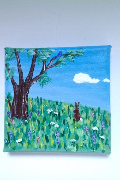 Original art on canvas, bunny in the meadow / small art / bunny art / woodland art / small home decor / one of a kind art / miniature art