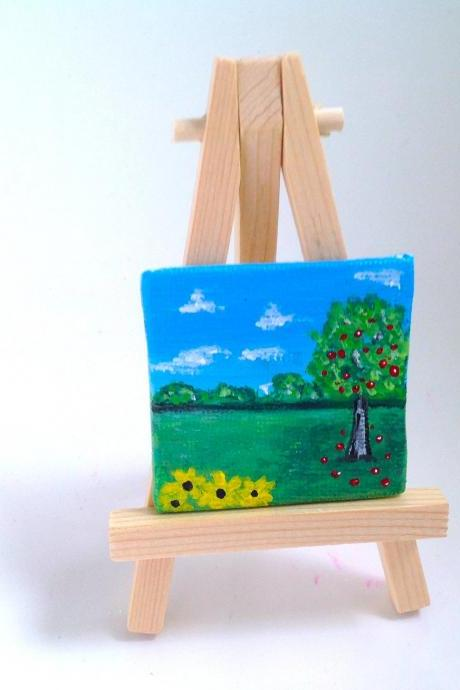 Mini canvas painting of apple orchard / original painting on canvas / tiny art / apple orchard / small home decor / nature art / art / miniature art / gift idea