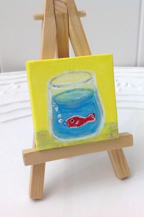 Tiny canvas painting/tiny art/original art/collectable art/fish art/abstract art/tiny artwork/home decor/farmhouse style/folk style/gift idea/art