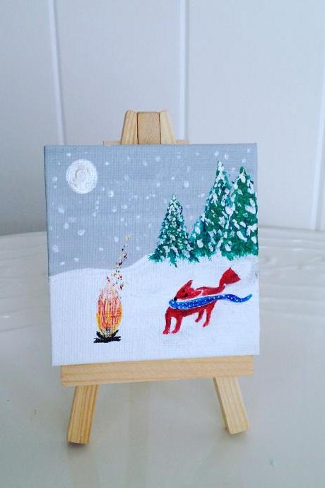 Mini canvas painting, fox in the snow winter painting/ tiny art/small painting/original art/miniature art/home decor/fox art/winter painting/charming art/artwork/farmhouse style/fox/cozy painting