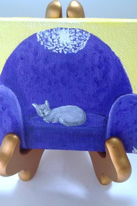 Small canvas art, cat painting original art/ collectable art/ home decor/ kitty art/ cat lover/ cat paining/ miniature art/ kitty painting/ cat lover gift/ art