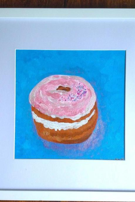 Mini canvas art donut painting, original art on canvas, small art, miniature art, donuts, dessert, kitchen art, pink donut, sprinkles, iced donut, pink, art