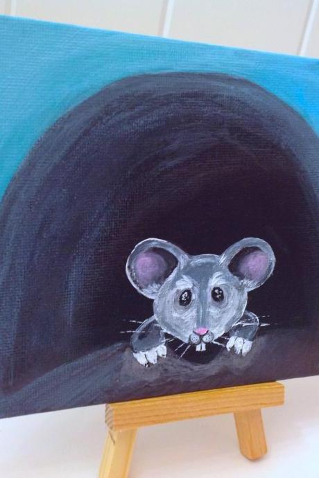 Mini canvas painting of mouse / original painting on canvas / art / painting / small art / white mouse / critter art / small home decor / mouse / original art / art
