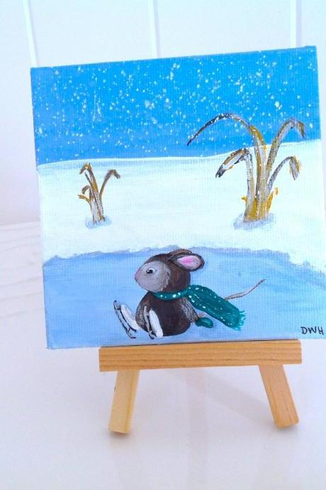 Small canvas art mouse in the snow winter painting/tiny painting/small painting/original art/miniature art/home decor/farmhouse style/winter art/mouse painting/ice skating/artwork