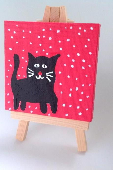 Mini canvas painting folk kitty art/ original art on canvas/ small art/ miniature/ tiny painting/ black kitty/ folk style art/ folk/ charming/ fun/ art/ children