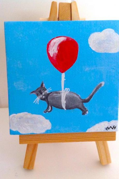 Small canvas art, kitty car original painting / original art/ letting go art/ miniature painting/ art/ cat lover/ loss of pet/ gift to comfort/ love