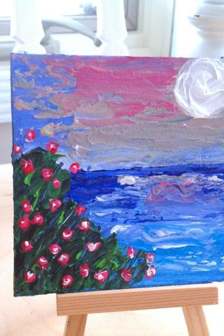 Mini canvas painting beach art/ocean painting/original artwork/original painting/tiny painting/small art/palette knife art/ocean lover/summer art/home decor/love