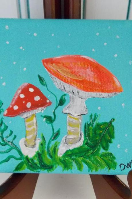 Small canvas painting, mushroom woodland art / original painting on canvas / small art / woodland art / small canvas / small home decor / nature art / miniature art / art