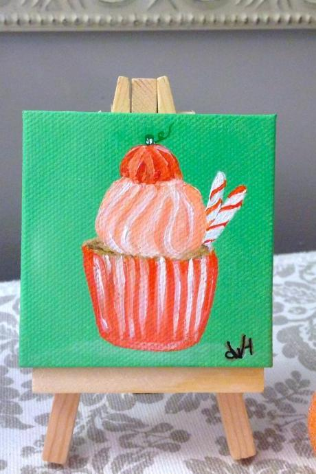 Small canvas art pumpkin cupcake painting/ original artwork/ small canvas/ miniature art/ tiny painting/ art/ Thanksgiving gift/ small home decor/ autumn/ fall art