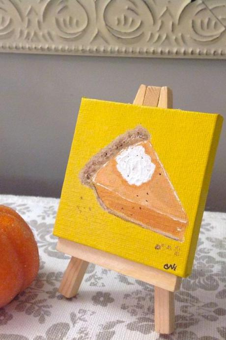 Mini canvas original painting pumpkin pie art/small art/original art/tiny painting/autumn decor/collectable art/small paining/pumpkin/thanksgiving art/original/artwork