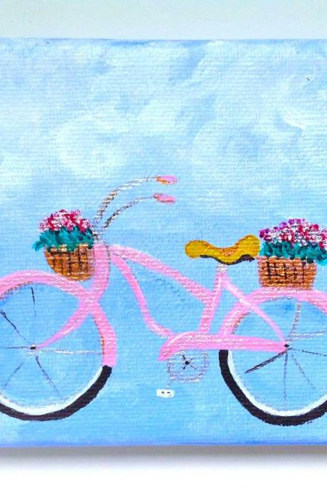 Original painting on canvas pink bike / / small art / retro art / small canvas / small home decor / bicycle art / miniature art / pink bike