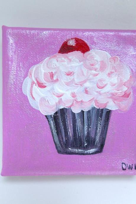 Mini canvas painting cherry on top art/ original painting on canvas / small art / cupcake art / small canvas / small home decor / dessert art / miniature art / art