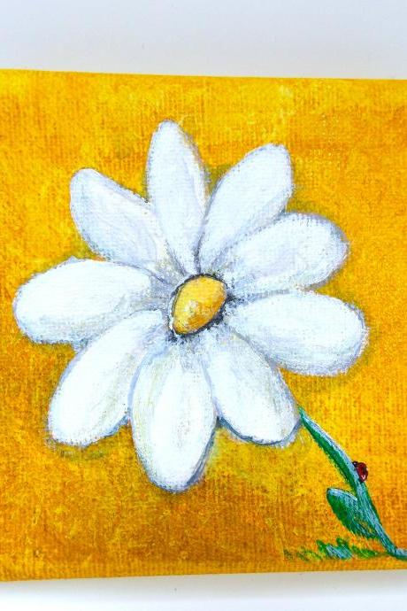 Tiny acrylic paintings daisy / original painting on canvas / small art / daisy art / small canvas / small home decor / nature art / miniature art / flower art