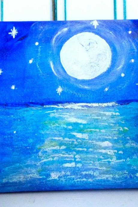 Mini canvas art midnight moon painting / original painting on canvas / small art / moon art / small canvas / small home decor / nature art / miniature art / art