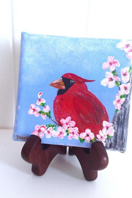 Small canvas art red cardinal original painting/ original painting on canvas / small art / bird art / small canvas / small home decor / nature art / miniature art / art