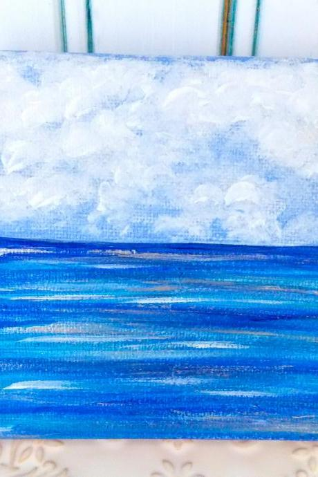 clouds on water / original painting on canvas / small art / ocean art / small canvas / small home decor / nature art / miniature art / art