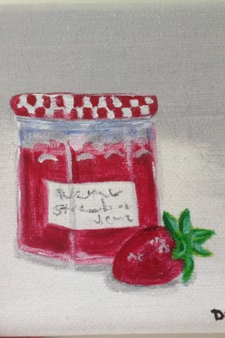Mini canvas art strawberry jam original painting/ original painting on canvas / small art / kitchen art / small canvas / small home decor / nature art / miniature art / art