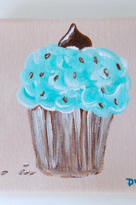 Mini canvas painting, mint chip cupcake original art / original painting on canvas / small art / dessert art / small canvas / small home decor / nature art / miniature art